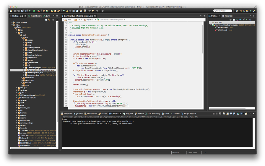 Eclipse with DarkJuno theme and a black-on-gray editor.